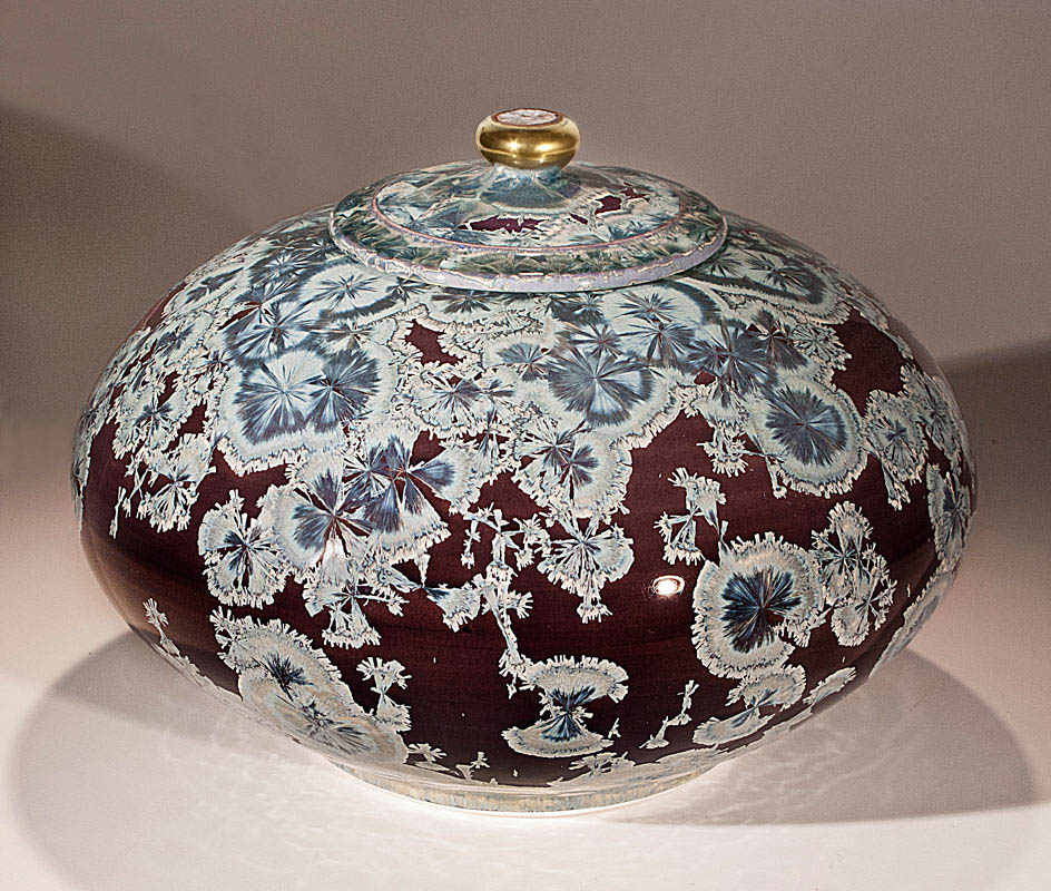 crystal glaze lidded vessel
