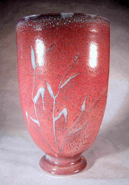 Oval Jun vase with wax resist